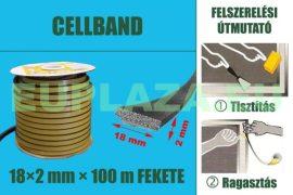 Gumi szigetelő, öntapadó gumiprofil, Cellband, fekete, 18 x 2 mm x 100 m