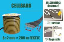 Gumi szigetelő, öntapadó gumiprofil, Cellband, fekete, 8 x 2 mm x 200 m