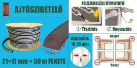 Ajtószigetelő, öntapadó gumiprofil, ipari, D-strip, fekete, 21 x 17 mm x 50 m