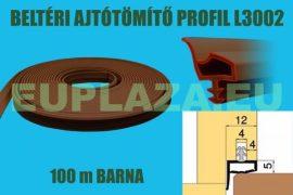 Ajtószigetelő, nútba építhető, belsőajtó tömítő profil,H 2002, barna, 100 m