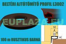 Ajtószigetelő, nútba építhető, belsőajtó tömítő profil, L3302, rusztikus barna, 100 m