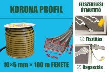 Gumi szigetelő, öntapadó gumiprofil, korona, fekete, 10 x 5 mm x 100 m