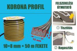 Gumi szigetelő, öntapadó gumiprofil, korona, fekete, 15 x 4 mm x 100 m
