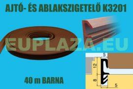 Ablakszigetelő, ajtószigetelő, nútba építhető, szárnytömítő profil, K 3201, PVC, barna, 40 m