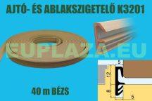Ablakszigetelő, ajtószigetelő, nútba építhető, szárnytömítő profil, K 3201, PVC, beige, 40 m