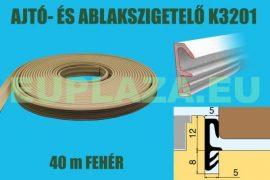 Ablakszigetelő, ajtószigetelő, nútba építhető, szárnytömítő profil, K 3201, PVC, fehér, 40 m