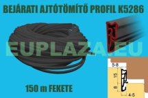 Ajtószigetelő, nútba építhető  profil, bejárati ajtóhoz, K 5286, TPE, fekete, 150 m