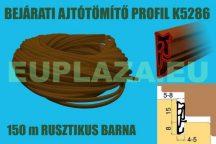 Ajtószigetelő, nútba építhető  profil, bejárati ajtóhoz, K 5286, TPE, rusztikus barna, 150 m