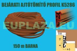 Ajtószigetelő, nútba építhető  profil, bejárati ajtóhoz, K 5286, TPE, sötétbarna, 150 m
