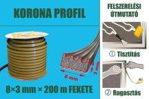 Gumi szigetelő, öntapadó gumiprofil, korona, fekete, 8 x 3 mm x 150 m