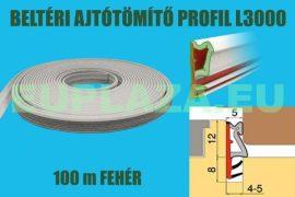 Ajtószigetelő, nútba építhető profil, bejárati ajtóhoz, L3000, TPE, fehér, 150 m