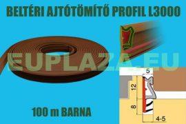 Ajtószigetelő, nútba építhető profil, bejárati ajtóhoz, L 3000, TPE, rusztikus barna, 150 m