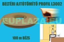 Ajtószigetelő, nútba építhető, belsőajtó tömítő profil,L 3002, beige, 50 m