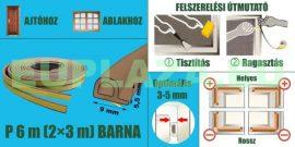 Ablakszigetelő, ajtószigetelő, öntapadó tömítőprofil, P, barna,dupla, 9 x 5,5 mm, 2x3 m