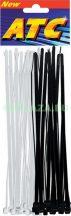 Kábelkötegelő, fekete + átlátszó, 200 x 3,6 mm, 24 db/csomag