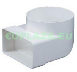 Átalakító, KP55-23, 90°-os, 100 mm-es kör keresztmetszetű légcsatornát 55 x 110 mm-es négyszögletűvé, műanyag