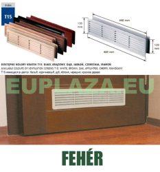 Szellőzőrács, ajtóhoz, T15k113, műanyag, fehér, 460 x 135 mm