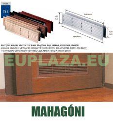 Szellőzőrács, ajtóhoz, T15k39, műanyag, mahagoni, 460 x 135 mm