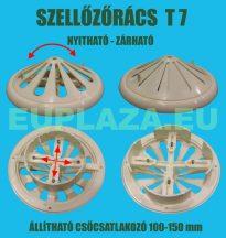 Szellőzőrács, T7, kúpos felsőrész, zárható, műanyag, állítható csőcsatlakozó 100-150 mm