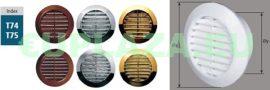 Bútorrács, T74br, bútor szellőző, szúnyoghálóval,  műanyag, barna, furat átmérő 60 mm