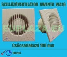Ventilátor, Awenta WA100T, szellőzőventilátor, fali, csőcsatlakozóval, időkapcsolóval, formatervezett, csőcsatlakozó 100 mm