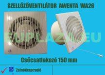 Ventilátor, Awenta WM100T, szellőzőventilátor, fali, zsalus, időkapcsolóval, elszívó ventilátor, csőcsatlakozó 100 mm