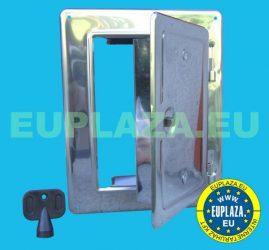 Kéményajtó, kémény tisztítónyílás, rozsdamentes acél, kulccsal zárható, 120 x 180 mm